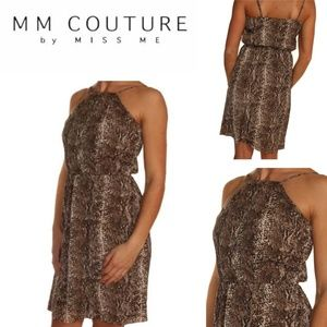 MM Couture Brown Animal Print High Neck Dress